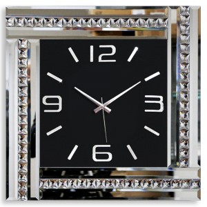 Kare Kristal Taşlı Duvar Saati